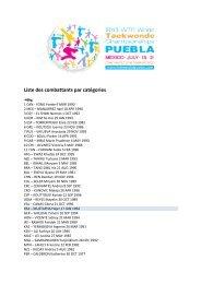 Liste des combattants par catégories - fftda