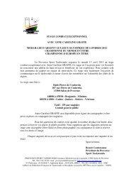 Inscription Stage Combat - Provence Sport Taekwondo