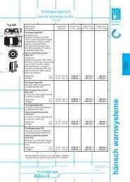 Preisinformation Tonfolgeanlage 610/620 und KLG 2 - Hänsch