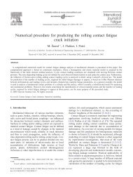 Numerical procedure for predicting the rolling contact fatigue crack ...