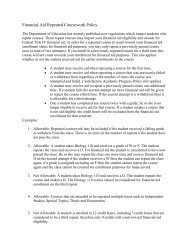 Financial Aid Repeated Coursework Policy - ULM Web Services