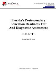 Florida's Postsecondary Education Readiness Test - College Success