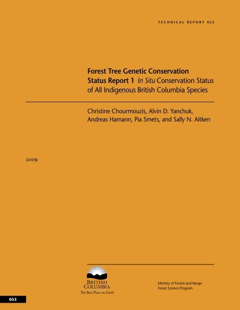 Forest Tree Genetic Conservation Status Report 1 In Situ