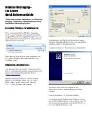 Modular Messaging – Fax Server Quick Reference Guide