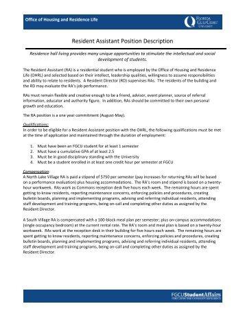 resident assistant job description job performance evaluation