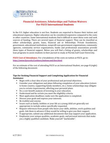 Financial Assistance, Scholarships and Tuition Waivers For FGCU ...