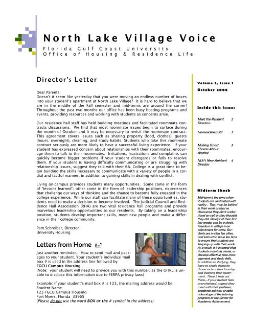 ferpa form fgcu  North Lake Village Voice - Florida Gulf Coast University