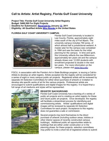 Call to Artists - Florida Gulf Coast University