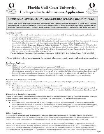 FGCU Undergraduate Admission Application - Florida Gulf Coast ...