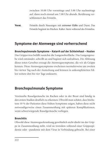 Symptome der Atemwege sind vorherrschend Bronchopulmonale ...