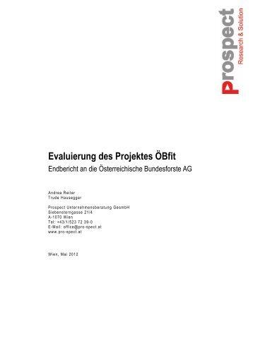Evaluierung des Projektes ÖBfit - Fonds Gesundes Österreich