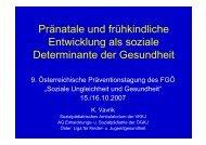 Pränatale und frühkindliche Entwicklung als soziale Determinante ...