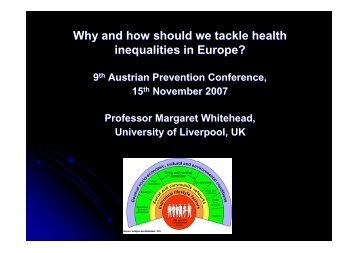 Why and how should we tackle health inequalities in Europe?