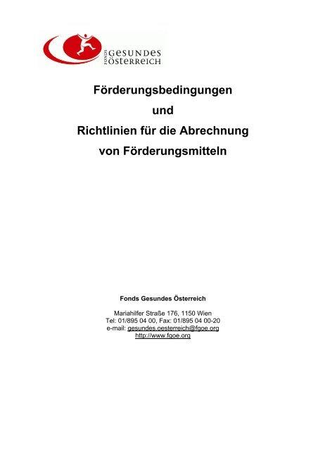 Abrechnung - Fonds Gesundes Österreich