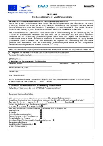 Studienbericht LLP/ERASMUS 2008/2009