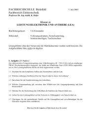 FACHHOCHSCHULE Bielefeld Fachbereich Elektrotechnik