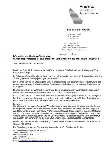 bachelor wirtschaftspsychologie fachhochschule bielefeld - Fh Bielefeld Bewerbung