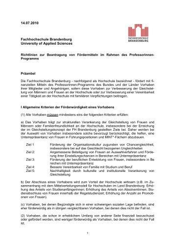 Richtlinie der FH Brandenburg - Fachhochschule Brandenburg