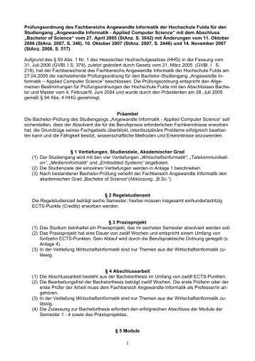 Prüfungsordnung des Fachbereichs ... - Hochschule Fulda