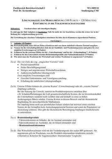 Fachbereich Betriebswirtschaft I 1 WS 2009/10 Prof. Dr ...