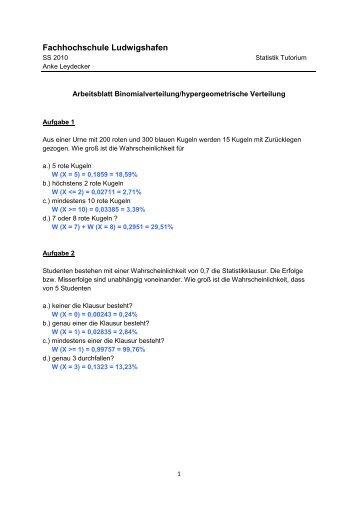 Arbeitsblatt 4 - Binominalverteilung/hypergeometrische Verteilung