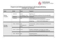 Programm der Einführungsveranstaltung im Studiengang Marketing ...