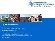 Diplomandenseminar - Hochschule Ludwigshafen am Rhein