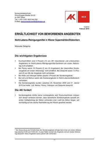 ERHÄLTLICHKEIT VON BEWORBENEN ... - Arbeiterkammer Wien