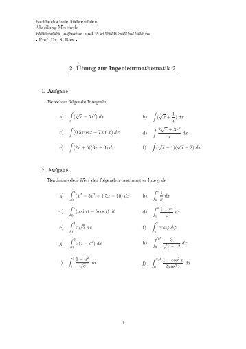 2. Übung zur Ingenieurmathematik 2 - Fachhochschule Südwestfalen