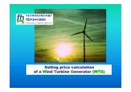Selling price calculation of a Wind Turbine Generator (WTG)