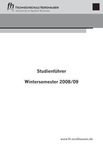 Studienführer Wintersemester 2008/09 - Fachhochschule Nordhausen