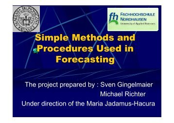 Simple Methods and Procedures Used in Forecasting