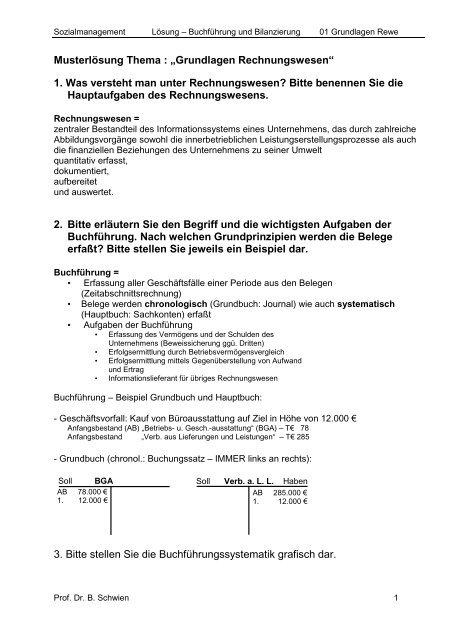 Musterlösung Thema Grundlagen Rechnungswesen 1 Was