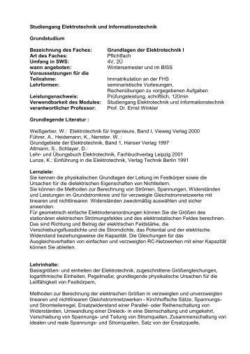 Studiengang Elektrotechnik und Informationstechnik Grundstudium ...