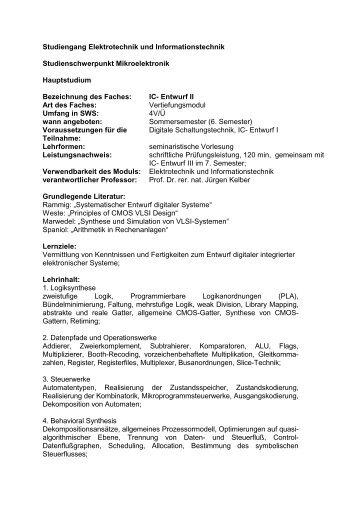 Studiengang Elektrotechnik und Informationstechnik ...