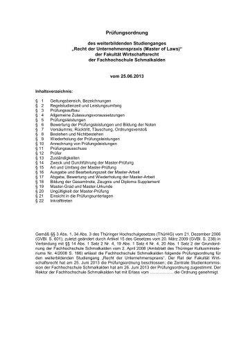 """Prüfungsordnung """"Recht der Unternehmenspraxis (LL.M.)"""""""