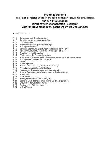 Prüfungsordnung des Fachbereichs Wirtschaft der Fachhochschule ...