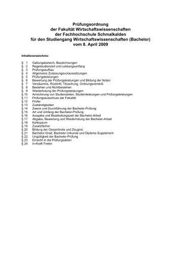 Prüfungsordnung der Fakultät Wirtschaftswissenschaften der ...