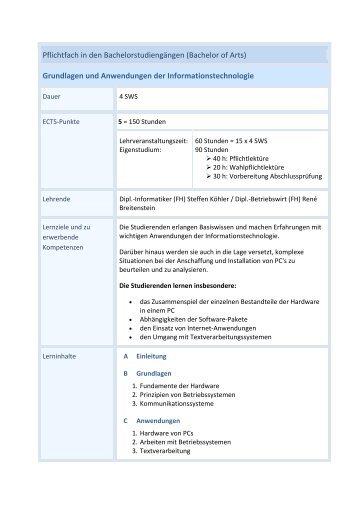 Grundlagen und Anwendungen der Informationstechnologie