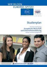 Studienplan EWUF BA - Fachhochschule des bfi Wien