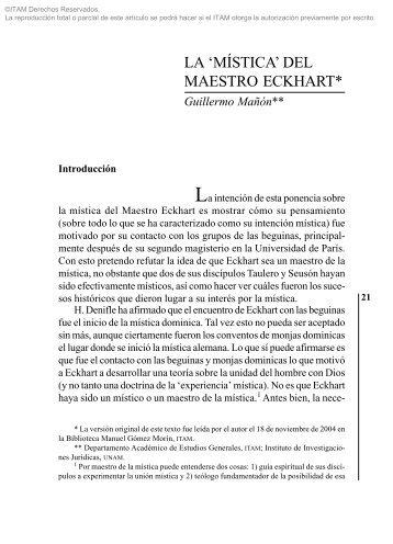 'MÍSTICA' DEL MAESTRO ECKHART Guillermo ... - Biblioteca - Itam