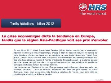 Tarifs hôteliers - bilan 2012 - fhcom