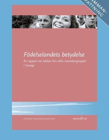Födelselandets betydelse – sammanfattning, 405 kB - Statens ...