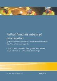 Hälsofrämjande arbete på arbetsplatser - Statens folkhälsoinstitut