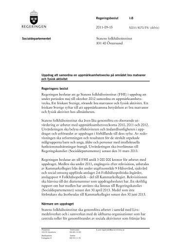 Regeringen beslutar att ge Statens folkhälsoinstitut (FHI)