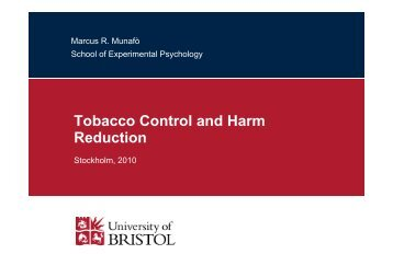 Tobacco Control and Harm Reduction