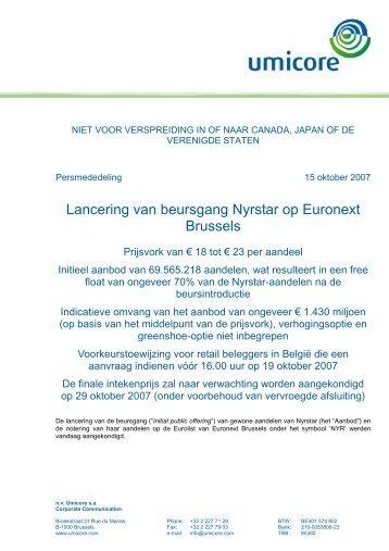 Lancering van beursgang Nyrstar op Euronext Brussels