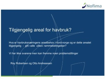 Areal for havbruk (Roy Robertsen, Nofima) - FHL