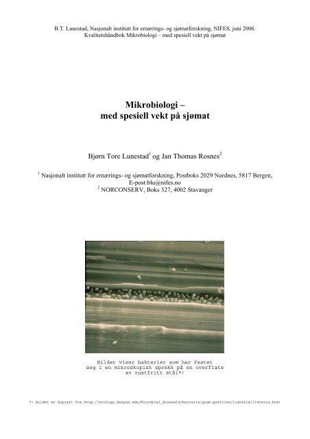Mikrobiologi – med spesiell vekt på sjømat - FHL