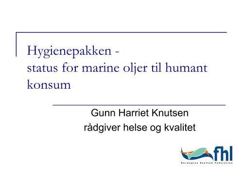 status for marine oljer til humant konsum - FHL